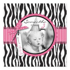 Chic Zebra Print & Cupcake Birthday Photo Template Announcements