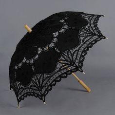 Gothic Black Wedding Lace Parasol Sun Umbrella Costume Accessory Photography Props