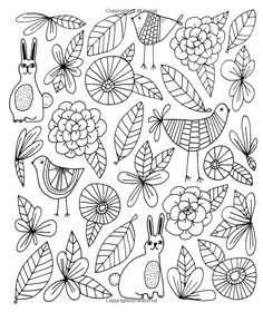 Just Add Color: Flora and Fauna: 30 Original Illustrations to Color, Customize, and Hang - Bonus Plus 4 Full-Color Images by Lisa Congdon Ready to Display! Doodle Drawings, Doodle Art, Zentangle Patterns, Embroidery Patterns, Colouring Pages, Coloring Books, Posca Art, Mandala, Flower Doodles