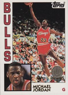 Michael Jordan basketball card (Chicago Bulls Hall of famer) 1993 Topps Archives 1984 Topps style Chicago Bulls Basketball, Basketball Players, Pro Basketball, Football, Nba Players, Michael Jordan Basketball Cards, Michael Jordan Pictures, Jordan Bulls, Air Jordan
