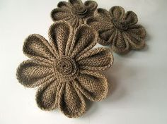 Items similar to 3 Kanzashi Burlap Flowers - Rustic Wedding Decoration, Craft Projects, Card Making, Home and Special Occasion Decoration on Etsy Burlap Art, Burlap Fabric, Burlap Bows, Fabric Ribbon, Jute Flowers, Diy Flowers, Fabric Flowers, Paper Flowers, Burlap Crafts
