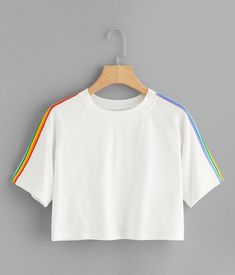 To find out about the Rainbow Stripe Panel Crop Tshirt at SHEIN, part of our latest T-Shirts ready to shop online today! Teen Fashion Outfits, Trendy Outfits, Girl Fashion, Girl Outfits, Summer Outfits, Fashion Clothes, 80s Fashion, Fashion 2020, Korean Fashion
