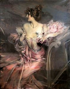 19th century Italian artist Giovanni Boldini. It turns out the woman in the pink muslin evening dress was his muse, an actress by the name of Marthe de Florian.