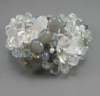 Andrea Li Moonstone, Aquamarine and pearl cluster cuff.