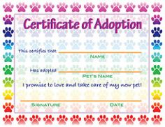 image about Pet Adoption Certificate Free Printable identified as 11 Suitable Pet dog Adoption Certification photographs inside 2017 Adoption