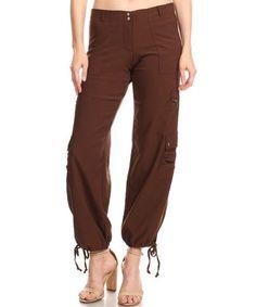 5621decfed19f Love this Brown Drawstring-Hem Cargo Pants - Women on #zulily! #zulilyfinds