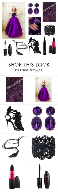 """gowns - purple & black"" by theultimatefashionlover on Polyvore featuring mode, Badgley Mischka, Dsquared2 en MAC Cosmetics"