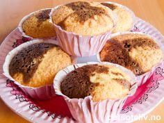 Sjokolade- og vaniljemuffins