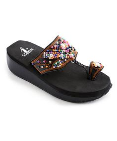 Take a look at this Black Beaded Aztec Sandal by Corky's Footwear on #zulily today!