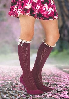 Spring 2015 outfit: floral skater mini skirt + knee high socks with lace detail in Marsala red + high heels #kneesocks
