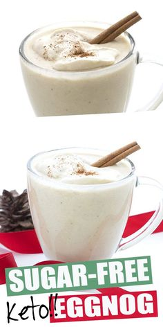Who loves eggnog? This rich creamy keto eggnog features almond milk whipped cream and nutmeg for a traditional flavor. It's easy to make and completely sugar free so you can indulge for the holidays. Dairy free and nut-free options too! Low Carb Drinks, Low Carb Desserts, Low Carb Recipes, Diet Drinks, Beverages, Keto Holiday, Holiday Recipes, Dinner Recipes, Dairy Free