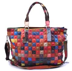 Ostrich leather patchwork tote from Leather Koo via Etsy