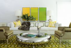 pamplemousse living room green yellow round silver donut coffee table white sofa color block