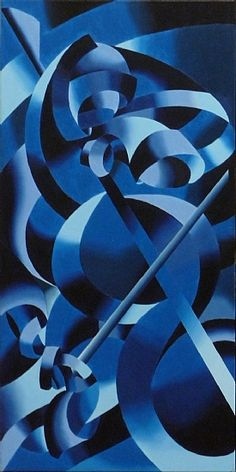 Mark Webster - Work Zoom: Abstract Futurist Modern Cellist, Blue Oil Painting by Northern California Artist Mark Webster