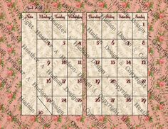 Vintage Chic pink Roses Music Papers Calendar Journal Book Ephemera Printable 12 Digital Collage Sheets Victorian Papers Instant Download