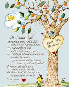 Baby Boy Adoption Gift Nursery Art by Linda Paige Tolis- Adoption Poem Personalized Art Print Chosen Child