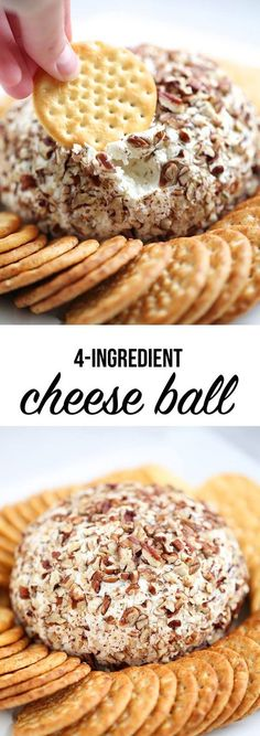 4 ingredient cheese ball -hands down one of the easiest and yummiest recipes to . 4 ingredient cheese ball -hands down one of the easiest and yummiest recipes to serve at your next Cheese Ball Recipes, Appetizer Recipes, Snack Recipes, Dessert Recipes, Cooking Recipes, Fruit Recipes, Potato Recipes, Vegetable Recipes, Vegetarian Recipes