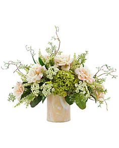Creative Displays Peach Rose Bouquet With Green Hydrangea Artificial Floral Arrangements, Flower Arrangements Simple, Silk Flower Arrangements, Table Arrangements, Centrepieces, Green Hydrangea Bouquet, Rose Bouquet, Romantic Flowers, Silk Flowers