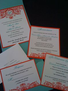 Teal and Red Pocket Wedding Invitations with Filigree Design: www.celebratedoccasionsjax.com