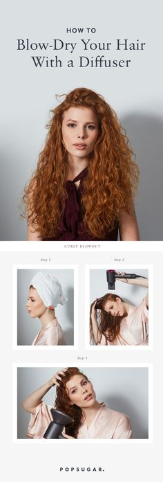 How to blow dry your hair at home using a diffuser - Modern Curly Hair Diffuser, Diffuser Diy, Blow Dry Hair Curls, Dry Frizzy Hair, Long Hair Tips, Curly Hair Tips, How To Curl Your Hair, Curly, Hair