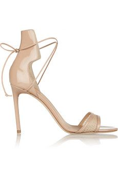 Reed Krakoff Mesh-trimmed patent-leather sandals | NET-A-PORTER