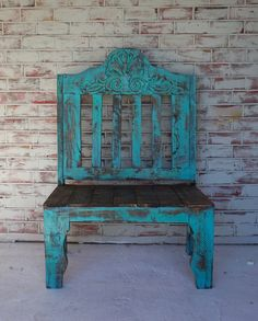 Handcrafted rustic carved bench available in 5 colors to choose from Rustic Outdoor Furniture, Western Furniture, Refurbished Furniture, Repurposed Furniture, Unique Furniture, Shabby Chic Furniture, Vintage Furniture, Painted Furniture, Diy Furniture