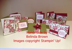 Christmas cards using the one sheet wonder technique with Stampin' Up!'s Reason for the Season Stamps. Handmade by Belinda Brown