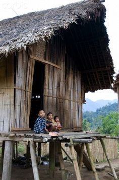 Traditional Bamboo House in Putao, Myanmar. Putao is the northernmost town of Kachin State. It can only be reached by road during the summer but is accessible year round by air if there are sufficient tourist groups to justify a plane. (V)