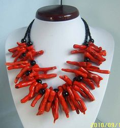 beadwork necklace,bid necklace,statement necklace,strand necklace, Coral necklace,Beaded Jewelry With Red Coral