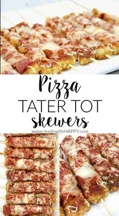 Loaded Tater Tot Skewers are a recipe that everyone will love. Perfect for a Super Bowl party, you'll want to include with any game day appetizer. Pizza Appetizers, Yummy Appetizers, Appetizer Recipes, Relish Recipes, Skewer Recipes, Appetizer Ideas, Loaded Tater Tots, Healthy Superbowl Snacks, Healthy Football Food