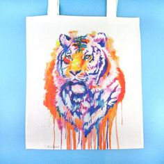 Watercolor Tiger Illustration Rainbow Canvas Shopper Tote Bag