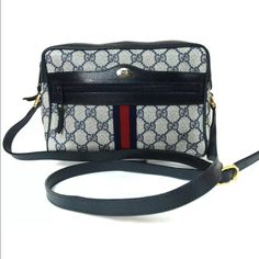 "Authentic Gucci Crossbody 100% authentic. Gucci pattern canvas, leather black crossbody or shoulder bag. Made in Italy. Logo canvas is in very good condition, zipper glides smoothly, strap is adjustable. Inside has signs of use and discoloration  but overall it's still in fabulous condition and perfect for any outfit. Dimensions (inches)W8.3"", H6.3"", D2.8"" / Length of the shoulder strap up to 45.3"" & Shoulder drop up to 19.7"" (Approx). Check photo for date code Gucci Bags Crossbody Bags"