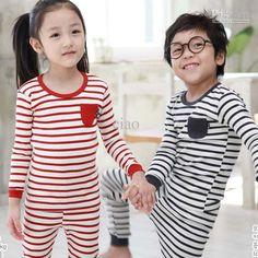 Wholesale Children Set Kids Suit Outfits Fashion Stripe Sleepwear Leisure Wear Child Pajamas T Shirt Pants, Free shipping, $7.31-8.44/Set | DHgate