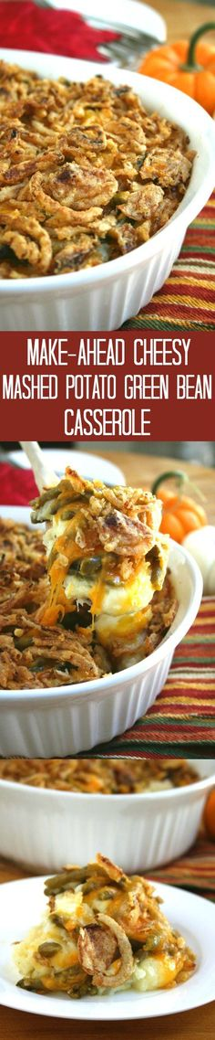 Cheesy Mashed Potato Green Bean Casserole is a make-ahead recipe for your holiday table! It combines 2 dishes in one for less fuss and more comfort food.   strawmarysmith.com