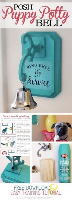 We'll show you how to potty train a dog or puppy to easily ring a bell when they need to go out. We've also got a great tutorial on how to make the bell! #PuppyHouses