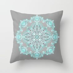 Buy Teal and Aqua Lace Mandala on Grey Throw Pillow by micklyn. Worldwide shipping available at Society6.com. Just one of millions of high quality products available.