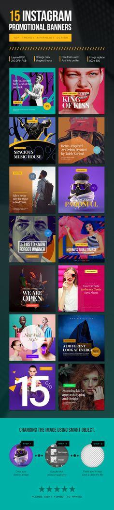 """Confira este projeto do @Behance: """"15 Instagram Promotional Banners"""" https://www.behance.net/gallery/45340875/15-Instagram-Promotional-Banners"""