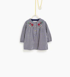 Image 1 of Checked and embroidered dress from Zara Fashion Kids, Zara, Baby Girl Dresses, Baby Dress, Baby Kids Clothes, Doll Clothes, Embroidered Denim Shirt, Check Dress, Toddler Girl