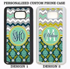TEAL MINT SILVER DAMASK CHEVRON CUSTOM MONOGRAM Case For Samsung Galaxy S6 NOTE #UnbrandedGeneric