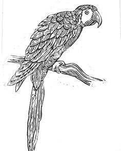 linocut by Gabor Sike Lino Art, Linoprint, Contemporary Artwork, Parrots, Stamps, Bird, Green, Animals, Ideas