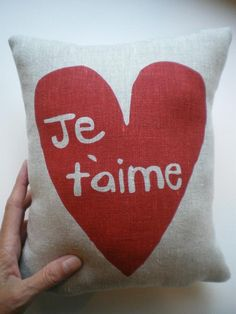 Je t'aime Pillow with Pocket.