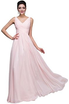 Sunvary Simple V Neck Bridesmaid Party Dresses Chiffon Long