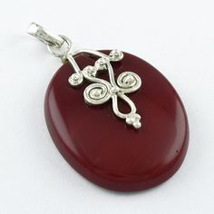 RED ONYX STONE 925 STERLING SILVER DESIGNER PENDANT #SilvexImagesIndiaPvtLtd #Pendant