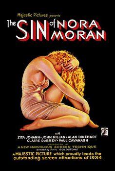"Sensuous, mesmeric Art Deco movie poster; ""The Sin Of Nora Moran"", ca. 1934"