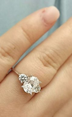 oval three stone engagement rings - Google Search