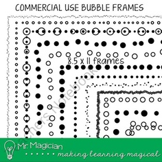 Commercial Use Bubble Decorative Page Borders product from Mr-Magician-Art on TeachersNotebook.com