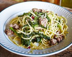 SPAGHETTI WITH 'DROWNED' CIME DI RAPA AND SAUSAGES