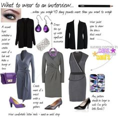 Ensembles to consider for an interview. PLEASE skip the open-toe heels for more corporate environments.