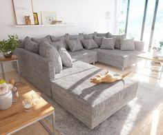 Popular DELIFE Wohnlandschaft Clovis Hellgrau modular Strukturstoff Hocker Design Wohnlandschaften Couch Loft Modulsofa
