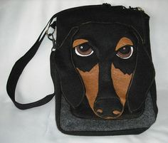 $40. Dachshund Felt IPad/Hip Bag/Purse made from Recycled Water Bottle fabric